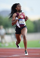Jennifer Madu of Texas A&M competes in 100 meter prelims during West Preliminary Track and Field Championships, Friday, May 29, 2015 in Austin, Tex. (Mo Khursheed/TFV Media via AP Images)