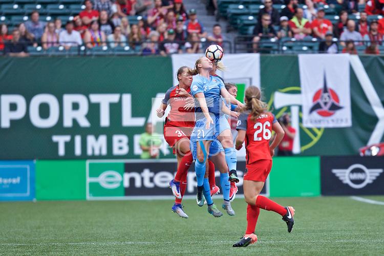Portland, OR - Saturday June 17, 2017: Celeste Boureille, Leah Galton during a regular season National Women's Soccer League (NWSL) match between the Portland Thorns FC and Sky Blue FC at Providence Park.