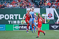 Portland, OR - Saturday June 17, 2017: Celeste Boureille, Leah Galton during a regular season National Women's Soccer League (NWSL) match between the Portland Thorns FC and Sky Blue FC at Providence Park.