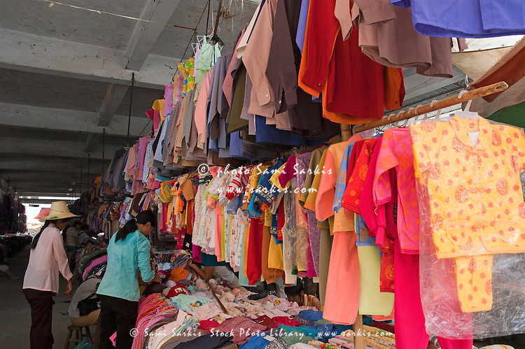 Clothing for sale at the Fuli Town Market, Fuli Village, Guangxi, China.