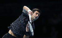 Novak Djokovic of Serbia during his round robin match against Marin Cilic of Croatia <br /> <br /> Photographer Rob Newell/CameraSport<br /> <br /> International Tennis - Nitto ATP World Tour Finals Day 6 - O2 Arena - London - Friday 16th November 2018<br /> <br /> World Copyright &copy; 2018 CameraSport. All rights reserved. 43 Linden Ave. Countesthorpe. Leicester. England. LE8 5PG - Tel: +44 (0) 116 277 4147 - admin@camerasport.com - www.camerasport.com