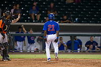 AZL Cubs shortstop Delvin Zinn (21) celebrates after getting hit by a pitch in a game against the AZL Giants on September 6, 2017 at Sloan Park in Mesa, Arizona. AZL Giants defeated the AZL Cubs 6-5 to even up the Arizona League Championship Series at one game a piece. (Zachary Lucy/Four Seam Images)