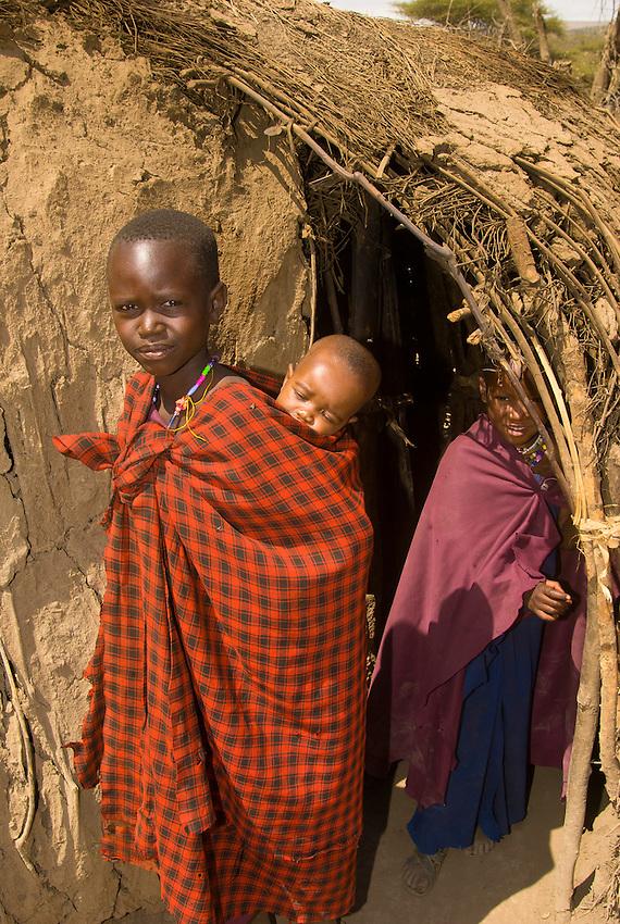 Maasai boys and girl, Manyatta village, Ngorongoro Conservation Area, Tanzania