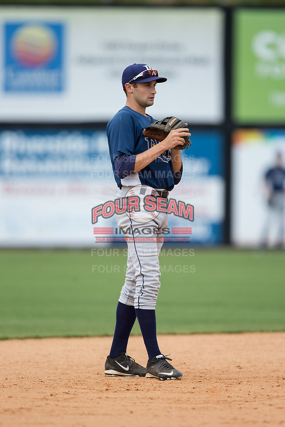 Princeton Rays shortstop Zach Rutherford (10) takes ground balls during batting practice prior to the game against the Danville Braves at American Legion Post 325 Field on June 25, 2017 in Danville, Virginia.  The Braves walked-off the Rays 7-6 in 11 innings.  (Brian Westerholt/Four Seam Images)