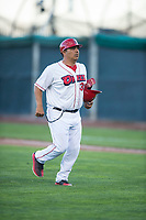 Orem Owlz coach Manny Del Campo (38) during a Pioneer League game against the Ogden Raptors at Home of the OWLZ on August 24, 2018 in Orem, Utah. The Ogden Raptors defeated the Orem Owlz by a score of 13-5. (Zachary Lucy/Four Seam Images)
