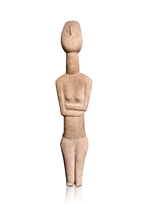 Cycladic Canonical type, Spedos variety female figurine statuette. Early Cycladic Period II from Syros phase , (2800-2300 BC). Attributed to the 'Copenhagen Master' Museum of Cycladic Art Athens,  Against white.<br /> <br /> The short legs have no knees and end in rudimentary feet. The legs probably broke at the knees and an artists remodelled  the truncated legs with toes. It is a rare example of remodelling in Cycladic art