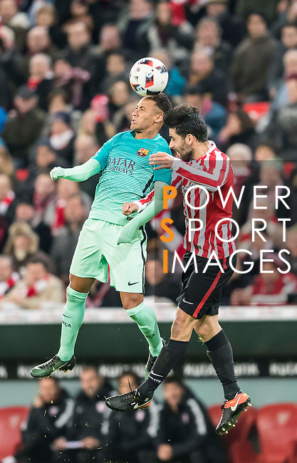 Neymar da Silva Santos Junior (l) of FC Barcelona fights for the ball with Eneko Boveda Altube of Athletic Club during their Copa del Rey Round of 16 first leg match between Athletic Club and FC Barcelona at San Mames Stadium on 05 January 2017 in Bilbao, Spain. Photo by Victor Fraile / Power Sport Images