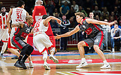 9th February 2018, Aleksandar Nikolic Hall, Belgrade, Serbia; Euroleague Basketball, Crvenz Zvezda mts Belgrade versus AX Armani Exchange Olimpia Milan; Guard Taylor Rochestie of Crvena Zvezda mts Belgrade passes between Guard Jordan Theodore of AX Armani Exchange Olimpia Milan and Forward Mindaugas Kuzminskas of AX Armani Exchange Olimpia Milan