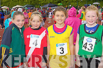 Kaeleigh Doyle Gneeveguilla, Aobha Quinn Moyvane, Rachel Dwyer Waterville, and Liana Williams Spa/Barrow/Fenit on the track at the Denny Kerry Community Games finals in Castleisland on Saturday