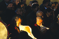 Tibetan monks of Namgyl Monastery during Losar, the Tibetan New Year celebration
