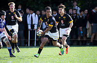 Action from the Wellington Premiership secondary schools rugby match between Wellington College and St Patrick's College Town at Wellington College in Wellington, New Zealand on Wednesday, 30 May 2018. Photo: Dave Lintott / lintottphoto.co.nz