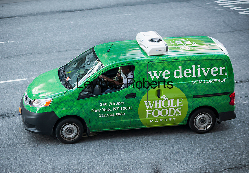 A Whole Foods Market delivery van in the Chelsea neighborhood of New York on Tuesday, June 27, 2017. Amazon is buying Whole Foods Market in a deal worth $13.7 billion. (© Richard B. Levine)