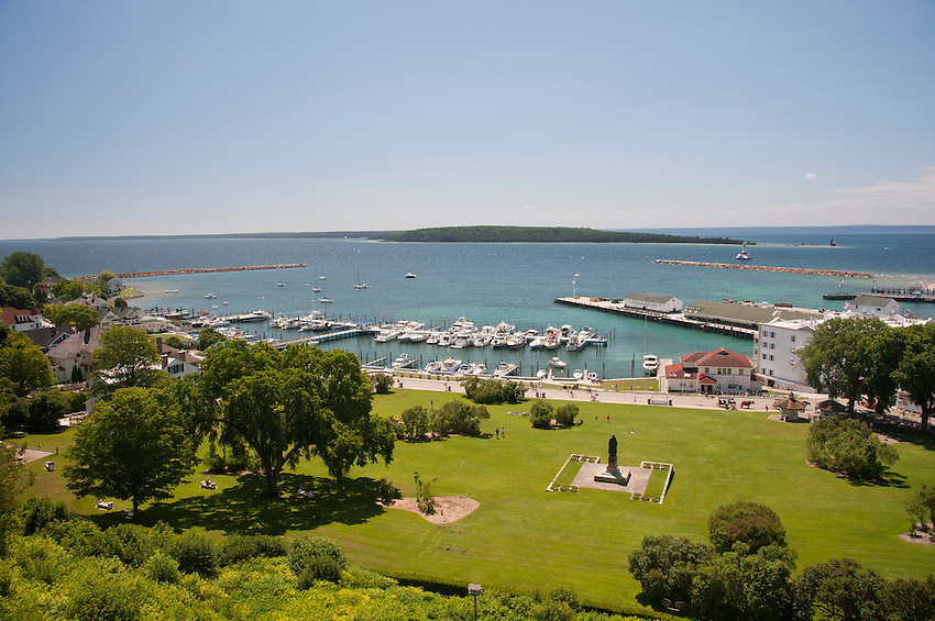 Mackinac Island's Lake Huron waterfront as seen from Fort Mackinac on Mackinac Island Michigan.