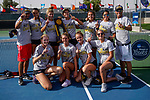 SURPRISE, AZ - MAY 11: Members of the Barry Buccaneers celebrate their National Championship title win against the West Florida Argonauts during the Division II Women's Tennis Championship held at the Surprise Tennis & Racquet Club on May 11, 2018 in Surprise, Arizona. (Photo by Jack Dempsey/NCAA Photos via Getty Images)