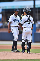 Asheville Tourists starting pitcher Erick Julio (29), catcher Joel Diaz (5) have a conversation on the mound during a game against the Augusta GreenJackets at McCormick Field on July 16, 2017 in Asheville, North Carolina. The GreenJackets defeated the Tourists 10-9. (Tony Farlow/Four Seam Images)