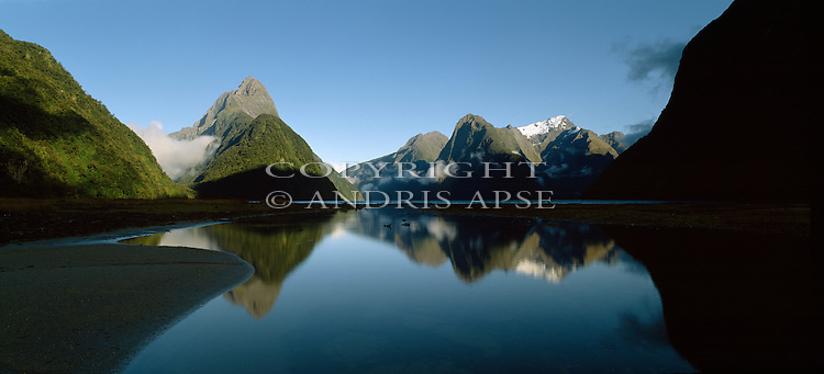 Mitre Peak and Milford Sound. Fiordland National Park. New Zealand.