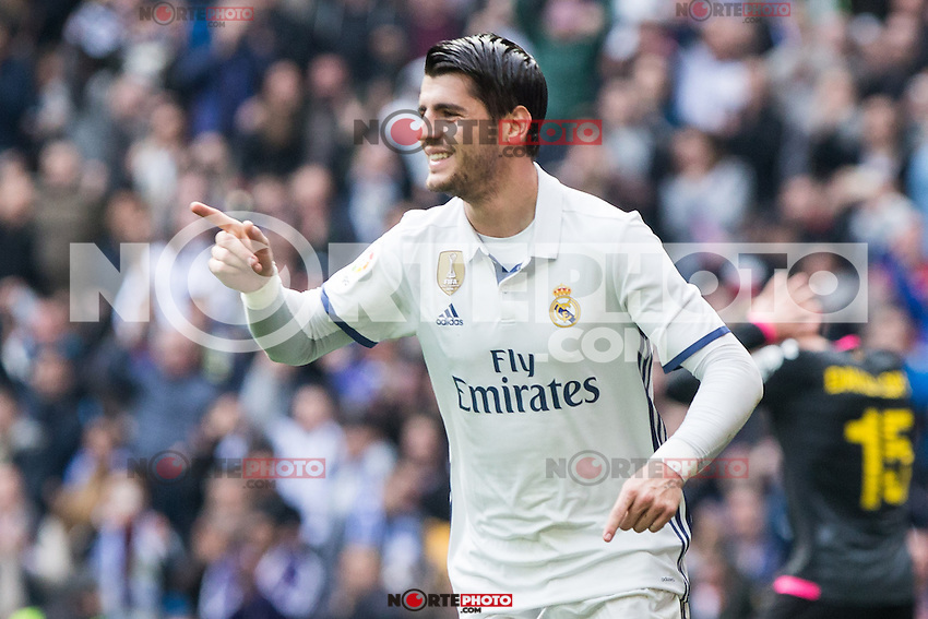 Alvaro Morata of Real Madrid celebrates after scoring a goal during the match of La Liga between Real Madrid and RCE Espanyol at Santiago Bernabeu  Stadium  in Madrid , Spain. February 18, 2016. (ALTERPHOTOS/Rodrigo Jimenez) /Nortephoto.com