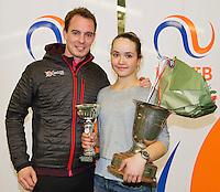 March 15, 2015, Netherlands, Rotterdam, TC Victoria, NOJK, Winner girls 18 years Liza Lebedzeva with her coach<br /> Photo: Tennisimages/Henk Koster