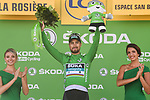 Peter Sagan (SVK) Bora-Hansgrohe retains the Green Jersey at the end of Stage 11 of the 2018 Tour de France running 108.5km from Albertville to La Rosiere Espace San Bernardo, France. 18th July 2018. <br /> Picture: ASO/Pauline Ballet | Cyclefile<br /> All photos usage must carry mandatory copyright credit (&copy; Cyclefile | ASO/Pauline Ballet)
