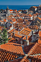 Elevated view of Old Town Dubrovnik, Croatia a UNESCO World Heritage Site.