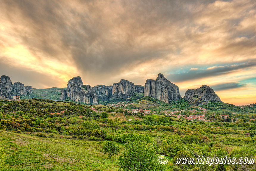 Sunrise behind the Giant Rocks of Meteora in Greece.