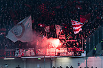 09.02.2019, HDI Arena, Hannover, GER, 1.FBL, Hannover 96 vs 1. FC Nuernberg<br /> <br /> DFL REGULATIONS PROHIBIT ANY USE OF PHOTOGRAPHS AS IMAGE SEQUENCES AND/OR QUASI-VIDEO.<br /> <br /> im Bild / picture shows<br /> Fans von 1. FC N&uuml;rnberg z&uuml;ndeln Bengalos / Pyrotechnik,  <br /> <br /> Foto &copy; nordphoto / Ewert