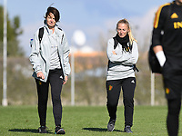 20190228 - LARNACA , CYPRUS : Belgian physiotherapist Fabienne Van De Steene pictured with Stephanie Spielmann during a Matchday -1 training from The Belgian Red Flames prior to their game against the women team of Austria , on Thursday 28 February 2019 at the Alpha Sports Grounds in Larnaca , Cyprus . This will be the second game in group C for Belgium during the Cyprus Womens Cup 2019 , a prestigious women soccer tournament as a preparation on the European Championship 2021 qualification duels. PHOTO SPORTPIX.BE | DAVID CATRY