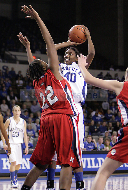 Freshman forward Brittany Henderson takes a shot in the first half of UK's game against Ole Miss on Thursday evening. Photo by William Baldon | Staff