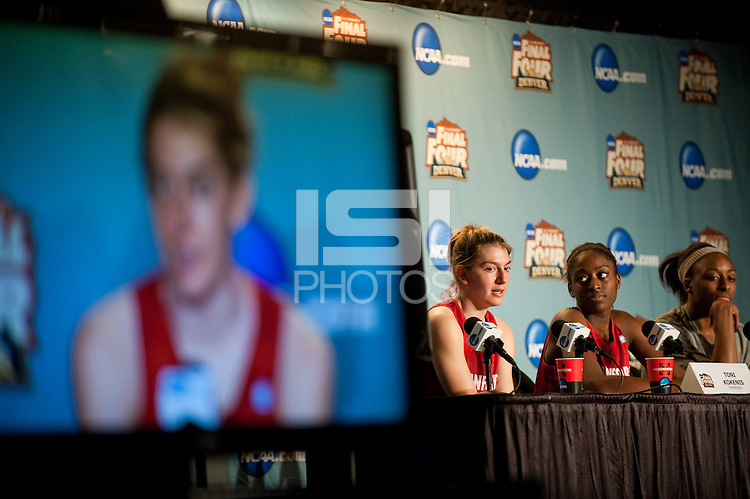 DENVER, CO--Toni Kokenis fields questions from the media during a post-practice press conference at the Pepsi Center for the 2012 NCAA Women's Final Four festivities in Denver, CO.