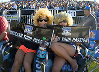 Earthquakes' fans with Lenhart wigs are pictured holding Earthquakes banners before the game between Earthquakes and Chivas USA at Buck Shaw Stadium in Santa Clara, California on September 2nd, 2012.   San Jose Earthquakes defeated Chivas USA, 4-0.