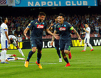 David Lopez and  Marek Hamsik   celebrates after score during Europa League Semi Final first    leg soccer match, between SSC Napoli and  Dinipro   at  the San Paolo   stadium in Naples  Italy , May 07, 2015