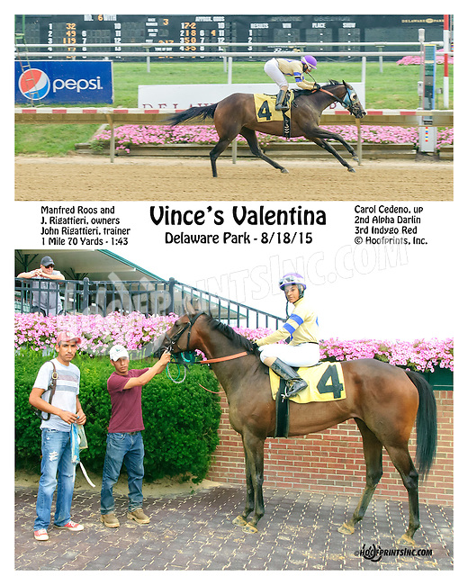 Vince's Valentina winning at Delaware Park on 8/18/15