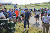 A large gallery welcomes Dustin Johnson (USA) to the 12th tee during Thursday's round 1 of the 117th U.S. Open, at Erin Hills, Erin, Wisconsin. 6/15/2017.<br /> Picture: Golffile | Ken Murray<br /> <br /> <br /> All photo usage must carry mandatory copyright credit (&copy; Golffile | Ken Murray)