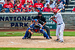30 April 2017: Washington Nationals outfielder Michael Taylor at bat in the 5th inning against the New York Mets at Nationals Park in Washington, DC. The Nationals defeated the Mets 23-5, with the Nationals setting several individual and team records, in the third game of their weekend series. Mandatory Credit: Ed Wolfstein Photo *** RAW (NEF) Image File Available ***