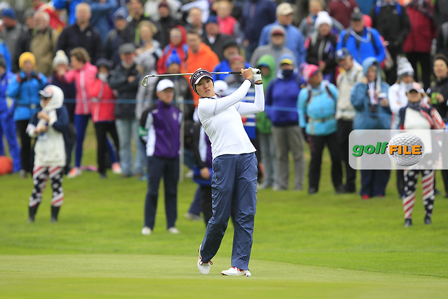 Annie Park of Team USA on the 1st fairway during Day 2 Fourball at the Solheim Cup 2019, Gleneagles Golf CLub, Auchterarder, Perthshire, Scotland. 14/09/2019.<br /> Picture Thos Caffrey / Golffile.ie<br /> <br /> All photo usage must carry mandatory copyright credit (© Golffile   Thos Caffrey)