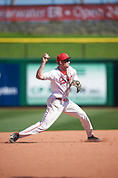 Ball State Cardinals shortstop Alex Maloney (6) throws to first base during a game against the Louisville Cardinals on February 19, 2017 at Spectrum Field in Clearwater, Florida.  Louisville defeated Ball State 10-4.  (Mike Janes/Four Seam Images)