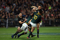 Elton Jantjies tackling  Sonny Bill Williams during the Rugby Championship match between the New Zealand All Blacks and South Africa Springboks at QBE Stadium in Albany, Auckland, New Zealand on Saturday, 16 September 2017. Photo: Shane Wenzlick / lintottphoto.co.nz
