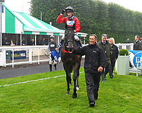 Winner of The British EBF Molson Coors Novice Stakes Div 2  Impressor ridden by Martyn Dwyer and trained by Marcus Tregoning  is led into the Winner's enclosure  during Horse Racing at Salisbury Racecourse on 14th August 2019