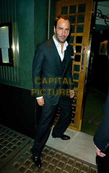 TOM FORD.At The Ivy Restaurant,.London, England, October 13th 2007..full  length grey suit white shirt.CAP/CAN.©Can Nguyen/Capital Pictures