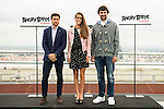 "The left to the right, spanish tennis player David Ferrer, spanish synchronized swimming Ona Carbonell and Real Madrid basketball player Sergio Llull during the presentation of the film ""Angry Birds"" at the Flat Roof of Torre Picasso in Madrid. April 29,2016. (ALTERPHOTOS/Borja B.Hojas)"