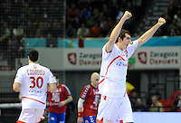 21.01.2013 World Championshio Handball. Match between Spain vs Serbia (31-20) at the stadium Principe Felipe. The picture show  Angel Montoro Cabello (Right Back of Spain).