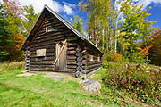 The Fabyan Guard Station during the autumn months. Built in 1923 by Clifford Graham along the old Jefferson Turnpike (now Old Cherry Mountain Road) in the White Mountains, New Hampshire. It's the last remaining guard station in the White Mountain National Forest. The cabin was built using spruce logs from the surrounding area