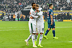04.11.2018, Stadion im Borussia-Park, Moenchengladbach, GER, 1. FBL, Borussia Moenchengladbach vs. Fortuna Duesseldorf, DFL regulations prohibit any use of photographs as image sequences and/or quasi-video<br /> <br /> im Bild Thorgan Hazard (#10, Borussia M?nchengladbach / Moenchengladbach) jubelt nach seinem Tor zum 3:0 mit Alassane Plea (#14, Borussia M?nchengladbach / Moenchengladbach)  <br /> <br /> Foto &copy; nordphoto/Mauelshagen