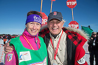 Volunteer chute coordinator Pat Likos (left) and her husband Tom at the Restart of the 2016 Iditarod in Willow, Alaska.  March 06, 2016.