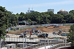 July 19, 2015, Tokyo, Japan - Ground leveling continues following dismantling of the National Stadium in the heart of the nations capital on Sunday, July 19, 2015. Japan decided no to proceed with the proposed construction of the 80,000-seat new national stadium based on the design by Irans Zaha Hadid for the 2020 Tokyo Olympics. Hadids original design would cost Japan some 2 billion dollars, double the original estimate. (Photo by Natsuki Sakai/AFLO) AYF -mis-