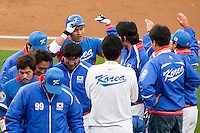 21 March 2009: #5 Shin-Soo Coo of Korea celebrates with teammates after hitting a three-run homerun in the first inning during the 2009 World Baseball Classic semifinal game at Dodger Stadium in Los Angeles, California, USA. Korea wins 10-2 over Venezuela.