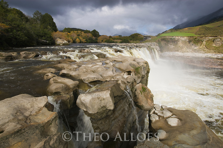 Approaching rain storm at Maruia Falls, South Island, New Zealand