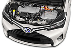 Car Stock 2015 Toyota Yaris Hybride Lounge 5 Door Hatchback 2WD Engine high angle detail view