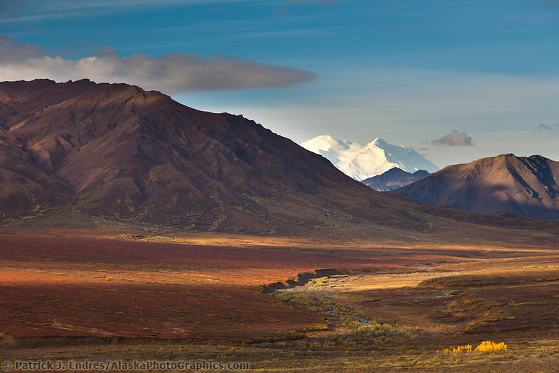 The north and south summits of Denali are visible from the Plains of Murie in Denali National Park.