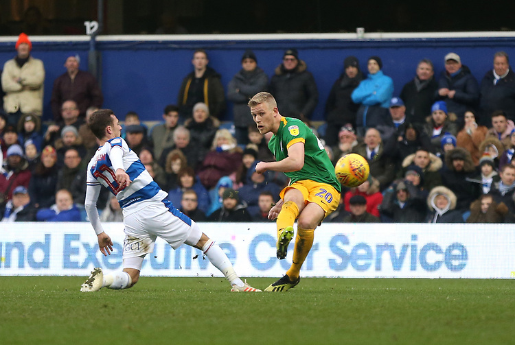 Preston North End's Jayden Stockley scores his side's first goal  <br /> <br /> Photographer Rob Newell/CameraSport<br /> <br /> The EFL Sky Bet Championship - Queens Park Rangers v Preston North End - Saturday 19 January 2019 - Loftus Road - London<br /> <br /> World Copyright © 2019 CameraSport. All rights reserved. 43 Linden Ave. Countesthorpe. Leicester. England. LE8 5PG - Tel: +44 (0) 116 277 4147 - admin@camerasport.com - www.camerasport.com